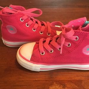 Girls Converse Hi-Tops w/Zipper sides and laces